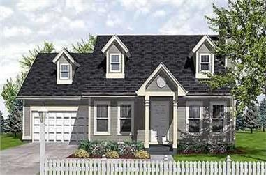 3-Bedroom, 1260 Sq Ft Cape Cod House Plan - 146-1524 - Front Exterior