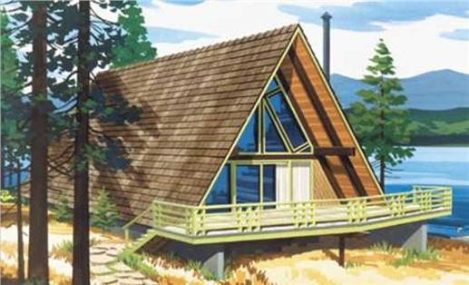 This is a colored rendering of A Frame House Plans LS-H-6-LA.