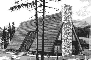 This is the front elevation of A-Frame House Plans LS-H-770-2A.