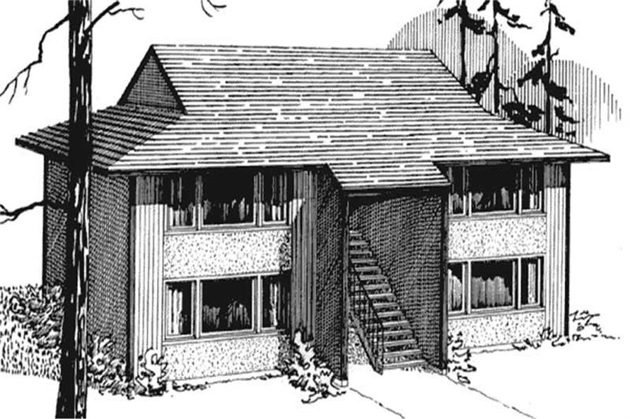 Rendering of Multi-Unit home plan (ThePlanCollection: House Plan #146-1556)