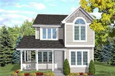 4-Bedroom, 1638 Sq Ft Country Home Plan - 146-1586 - Main Exterior