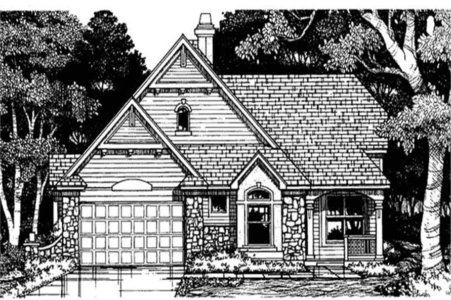 This image shows the front elevation of these European House Plans LS-B-93036.