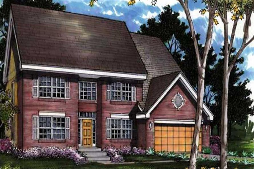 Colored Rendering for Colonial Homeplans LS-B-91031.