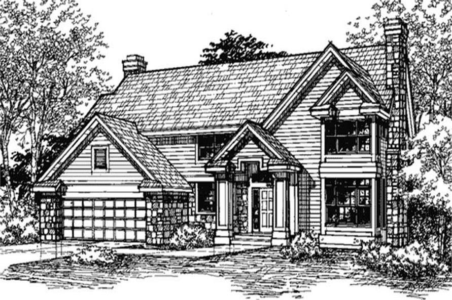 Country Homeplans LS-B-91028 front elevation.