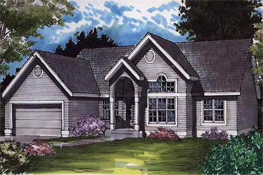 This image shows the colored front rendering of Country Homeplans LS-B-91025.