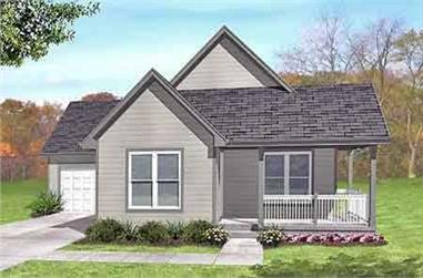 3-Bedroom, 1077 Sq Ft Country Home Plan - 146-1611 - Main Exterior