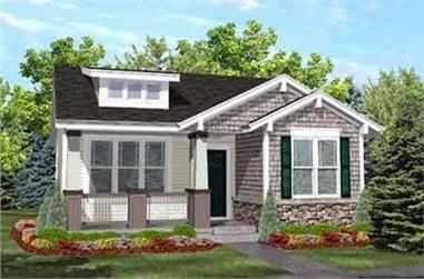 2-Bedroom, 936 Sq Ft Bungalow Home Plan - 146-1620 - Main Exterior