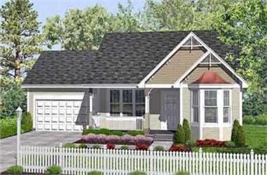 2-Bedroom, 947 Sq Ft Country House Plan - 146-1622 - Front Exterior