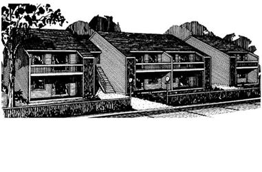Rendering of Multi-Unit home plan (ThePlanCollection: House Plan #146-1624)
