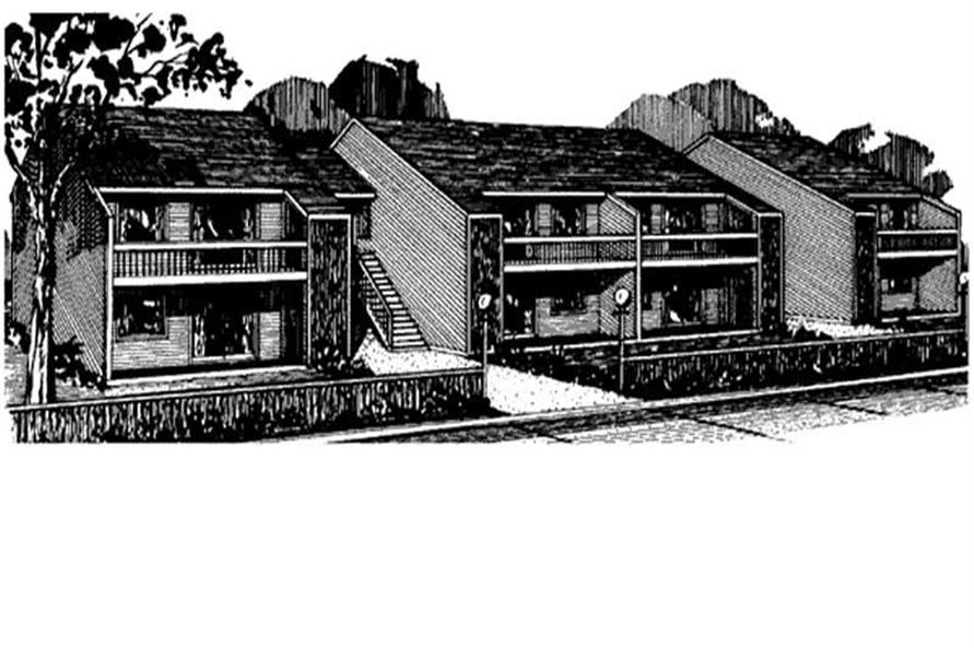 16-Bedroom, 6256 Sq Ft Multi-Unit House Plan - 146-1624 - Front Exterior