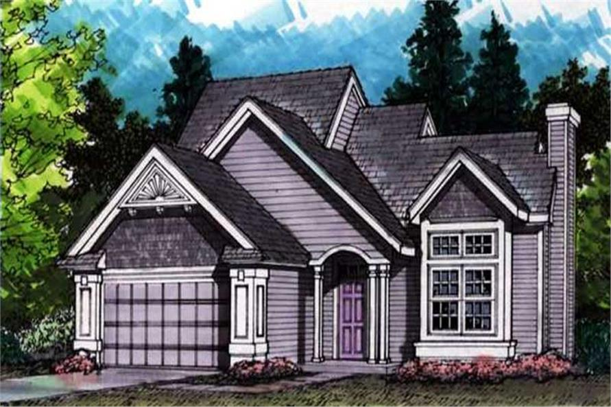 Country Homeplans LS-B-91040 colored front elevation.