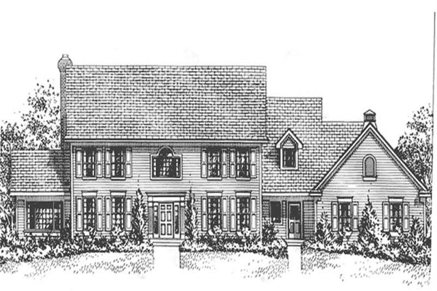 4-Bedroom, 3446 Sq Ft Colonial Home Plan - 146-1646 - Main Exterior