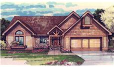 This image shows the Craftsman/Ranch Style of this set of house plans