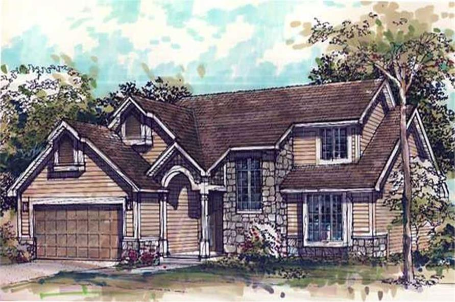 This image shows the Traditional/1-1/2 Story Style of this set of house plans.