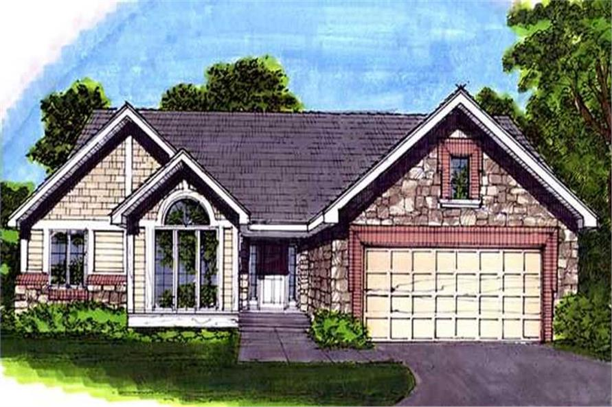 This images shows the Country/Ranch Style of this set of house plans.