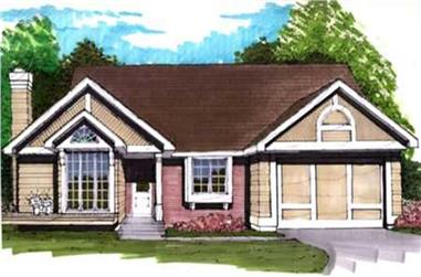 3-Bedroom, 1307 Sq Ft Ranch House Plan - 146-1687 - Front Exterior