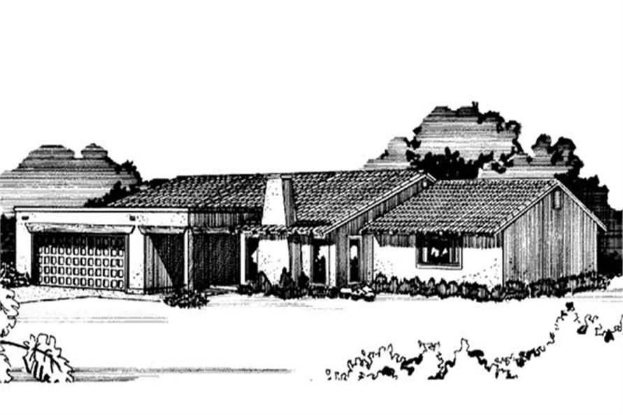 3-Bedroom, 1836 Sq Ft Southwest House Plan - 146-1712 - Front Exterior