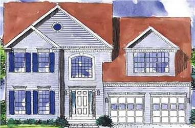 3-Bedroom, 2030 Sq Ft Colonial House Plan - 146-1720 - Front Exterior