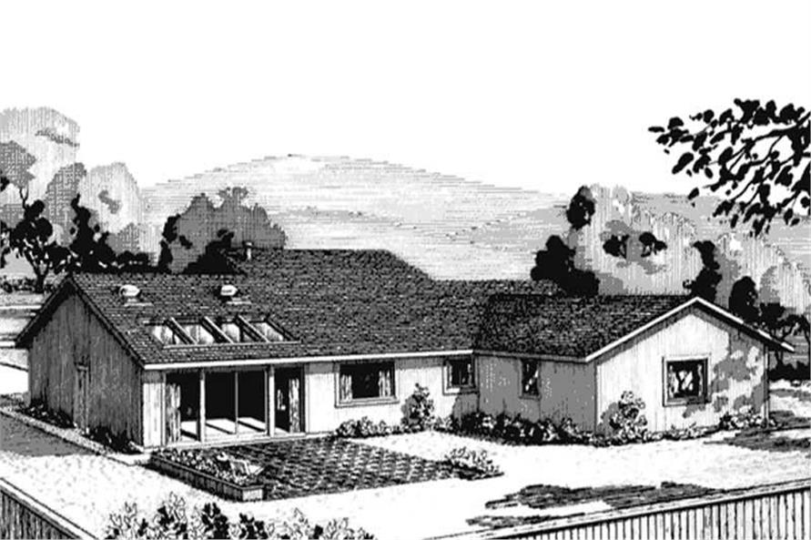 Home Plan Rear Elevation of this 3-Bedroom,1699 Sq Ft Plan -146-1723