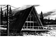 This is the front elevation of A-Frame House Plans LS-H-726-3A.