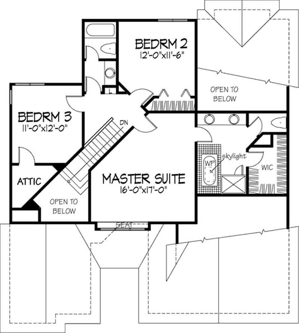 Large images for house plan 146 1725 for Second story floor plan