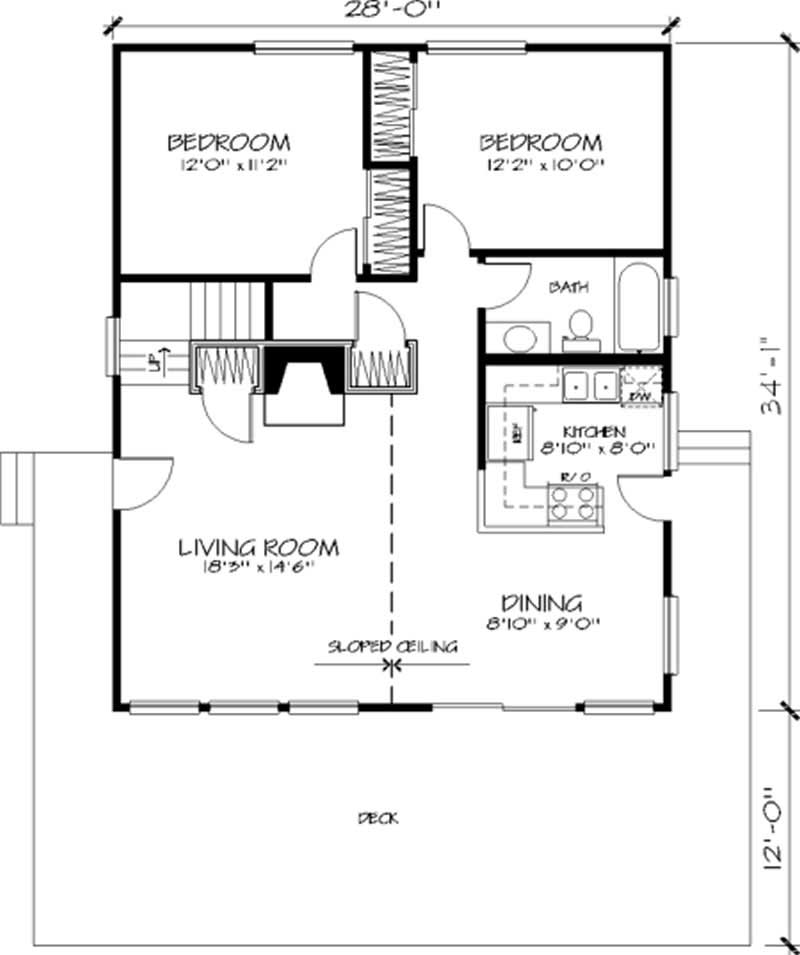 Vacation homes house plan 3 bedrms 1 baths 1628 sq ft 146 1728 - House plans one story with basement collection ...