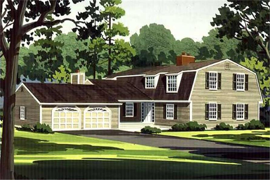 Color rendering of Colonial home plan (ThePlanCollection: House Plan #146-1775)