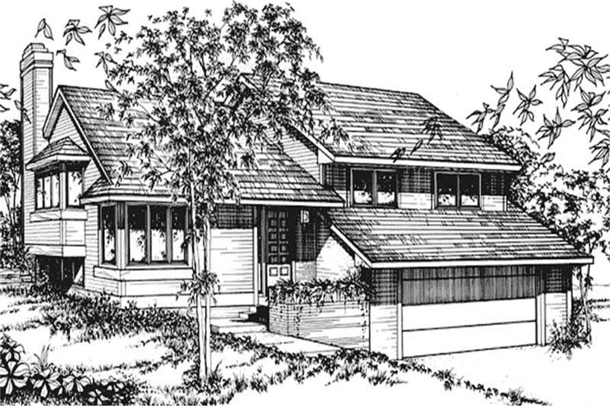 This image shows the Split-Level/Ranch Style of this house plan.