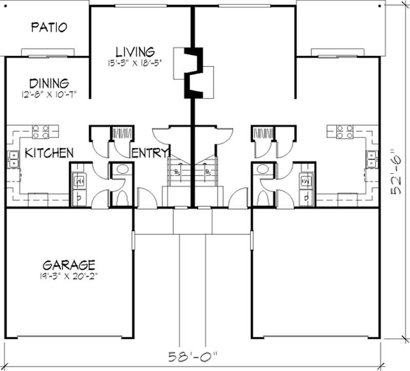 Multi unit house plans home design ls h 5911 a2 for Multi unit home plans