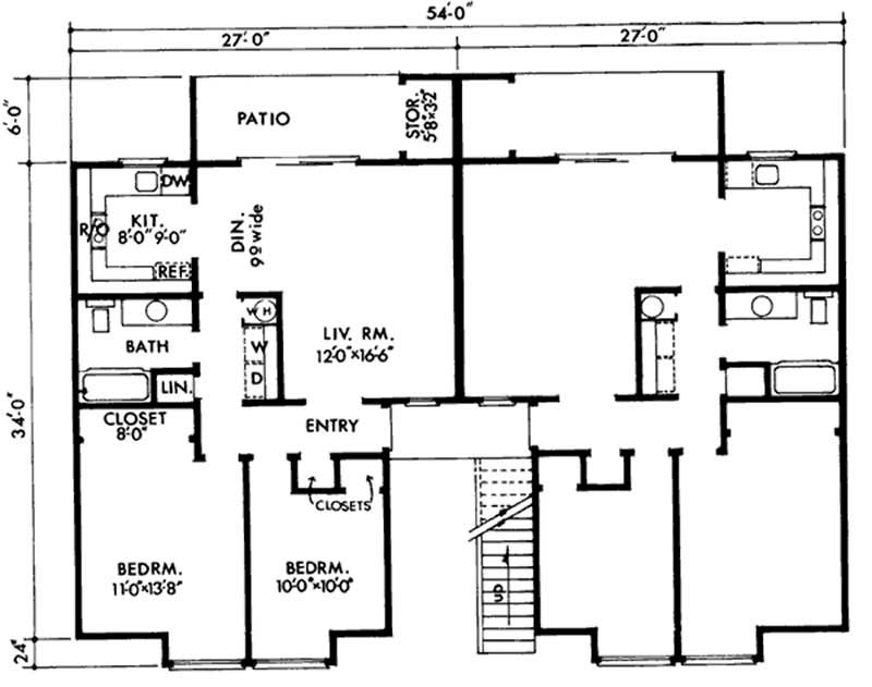 Multi unit house plans home design ls h 5931 a4 for Multi unit house plans