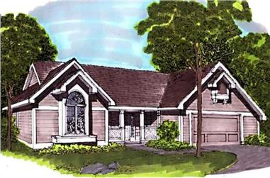 3-Bedroom, 2068 Sq Ft Country House Plan - 146-1815 - Front Exterior