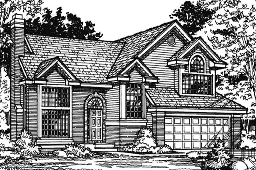 Country Homeplans LS-B-90056 Front Elevation.