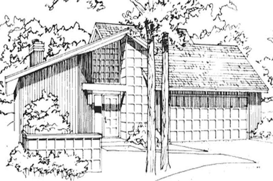 2-Bedroom, 1072 Sq Ft Contemporary House Plan - 146-1828 - Front Exterior