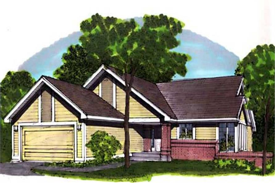 This image shows the Traditional/Ranch Style of this set of house plans.