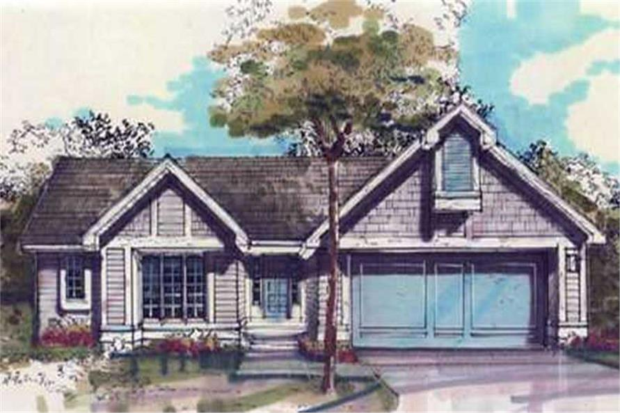 This image shows the Country/Ranch Style of this set of house plans.
