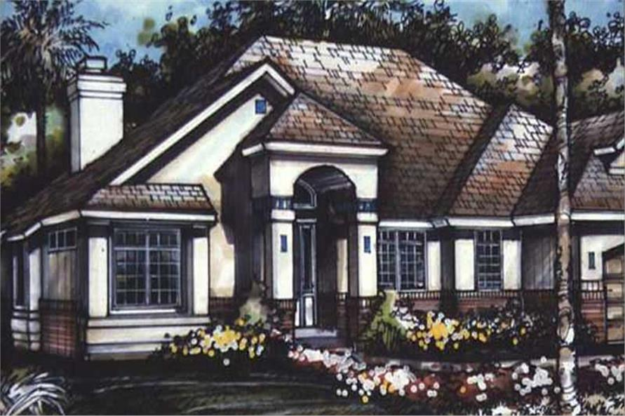 Mediterranean Houseplans LS-B-90506 colored rendering.