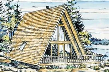 This is a colored rendering of A-Frame Home Plans LS-H-15-1.