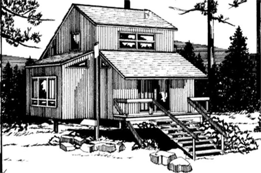 This is the front elevation of Vacation Home Plans LS-H-21-D.