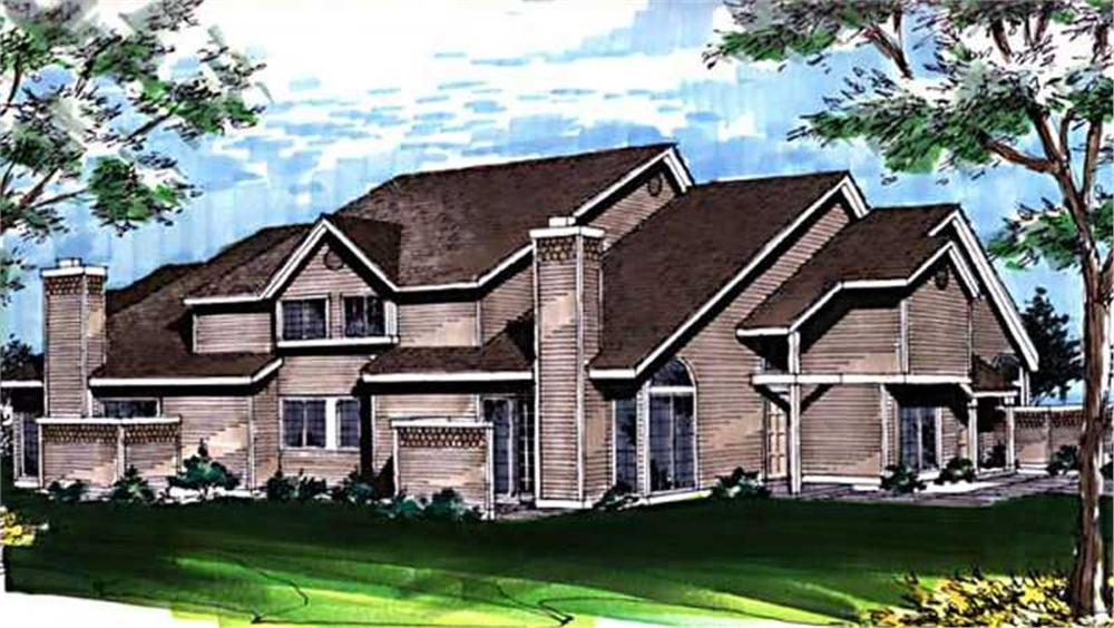 Color Rendering of Multi-Unit home (ThePlanCollection: House Plan #146-1846)