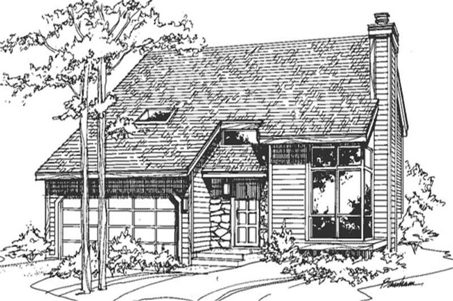 This image shows the postmodern style of this house plan