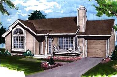 1-Bedroom, 950 Sq Ft Ranch House Plan - 146-1853 - Front Exterior