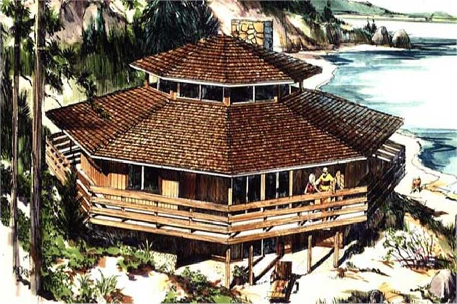 This image is the colored rendering of Vacation Homeplans LS-H-821-1.