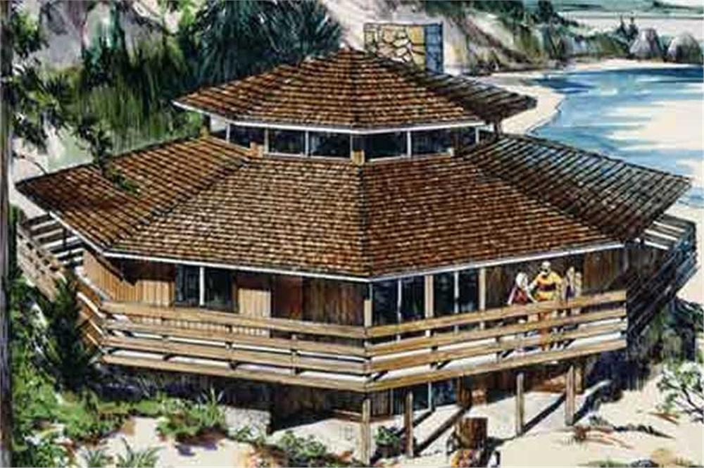 This is the colored rendering for Vacation House Plans LS-H-821-1A.