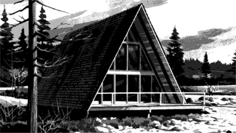 This image shows the front elevation of A-Frame Houseplans LS-H-726-3B.