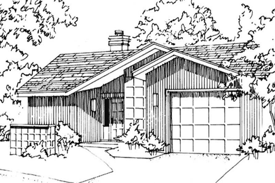 Front elevation of Modern home (ThePlanCollection: House Plan #146-1864)