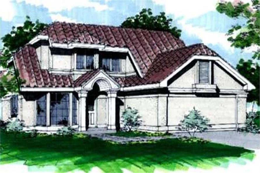 This image shows the Florida/Mediterranean, Southwestern Style of this House Plan.