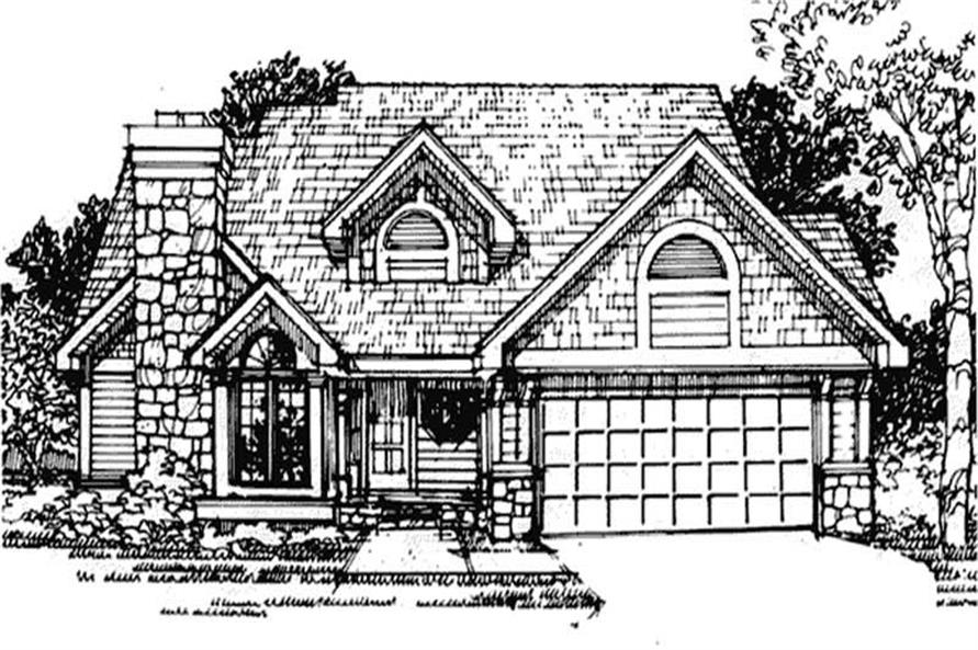 This image shows the front elevation of these Country House Plans, European House Plans, Ranch House Plans, Traditional House Plans.