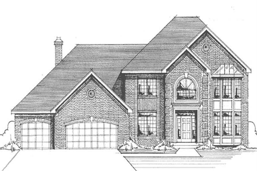 Home Plan Front Elevation of this 4-Bedroom,2620 Sq Ft Plan -146-1900
