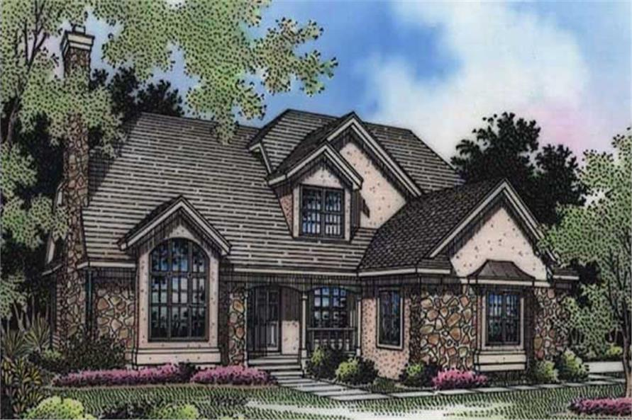 This colored image shows the front elevation of these European Home Plans LS-B-94009.