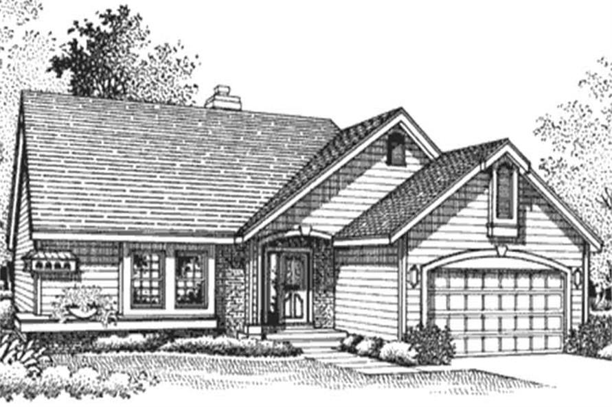 This is the front elevation of these Ranch House Plans (LS-B-95003).